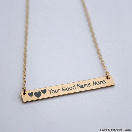 Hearts Gold Bar Necklace With Name