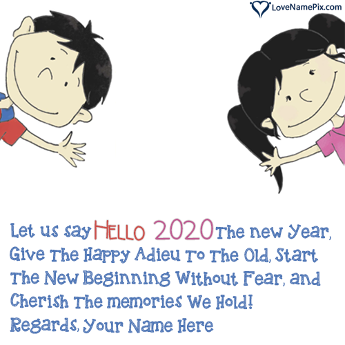 Write Name on Hello 2020 Greeting Messages Picture