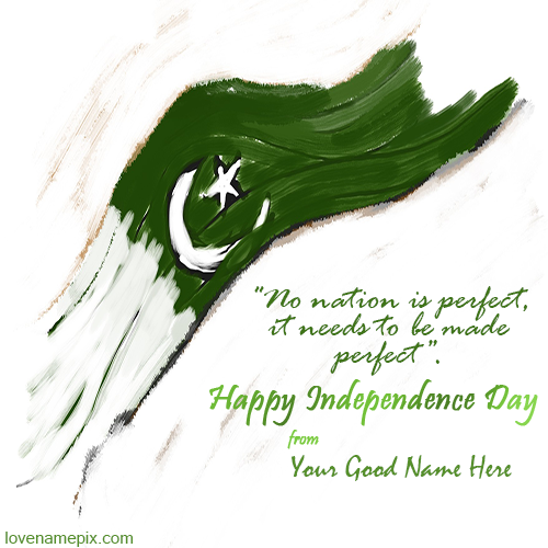 Write Name on Independence Day Pakistan Picture