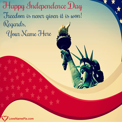 Write Name on Independence Day USA Greetings Cards Picture