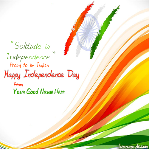 Write Name on Independence Day Wishes Picture