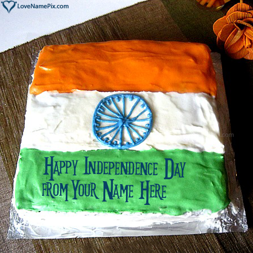 Write Name on Indian National Flag Cake Picture