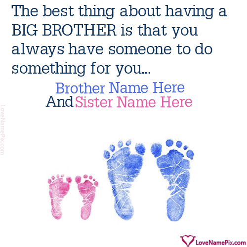 Write Name on Little Sister Big Brother Cute Picture