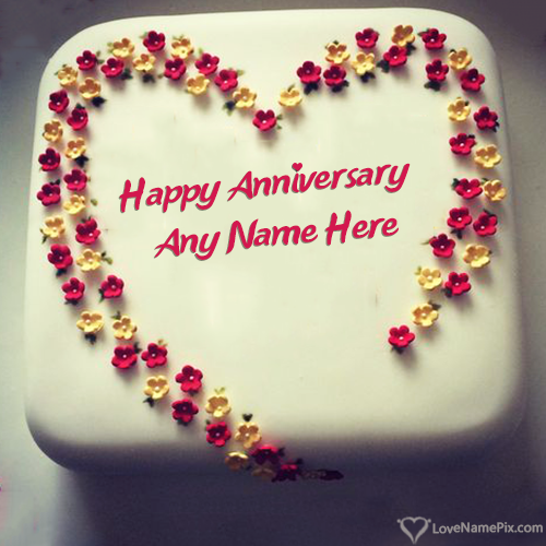 Write Name on Love Heart Anniversary Cake Picture