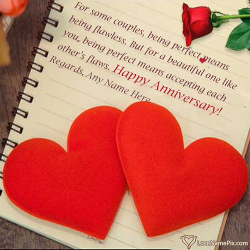 Love Hearts Happy Anniversary Wishes For Couple With Name