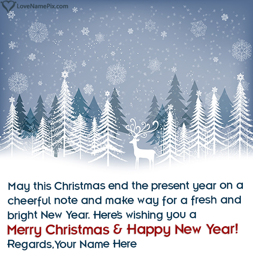 Write Name on Merry Christmas And Happy New Year Wishes Picture