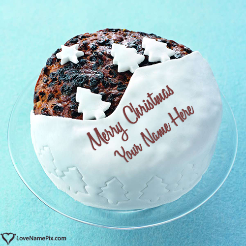 Merry Christmas Cake With Trees With Name