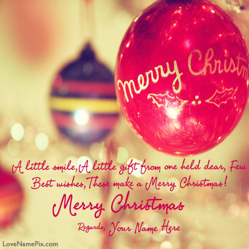 Write Name on Merry Christmas Greetings Quotes Picture