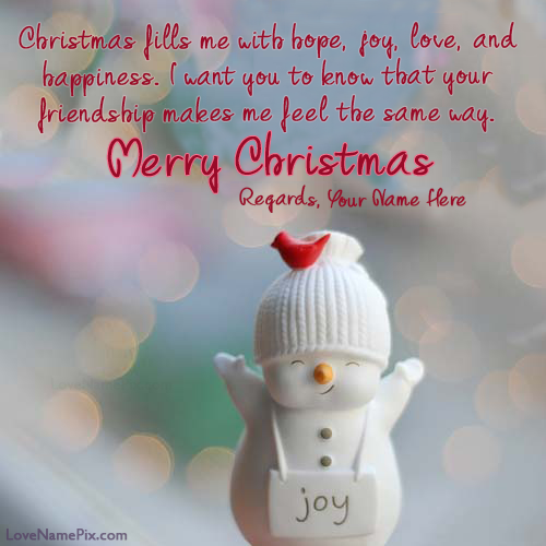 Write Name on Merry Christmas Wishes For Friends Picture