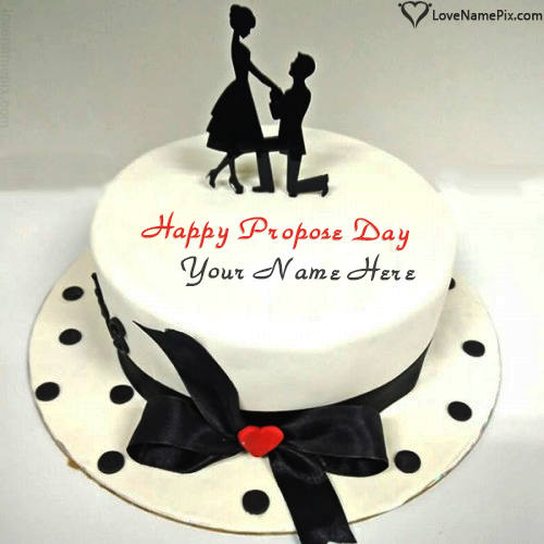 Write Name on Most Beautiful Happy Propose Day Cake Picture