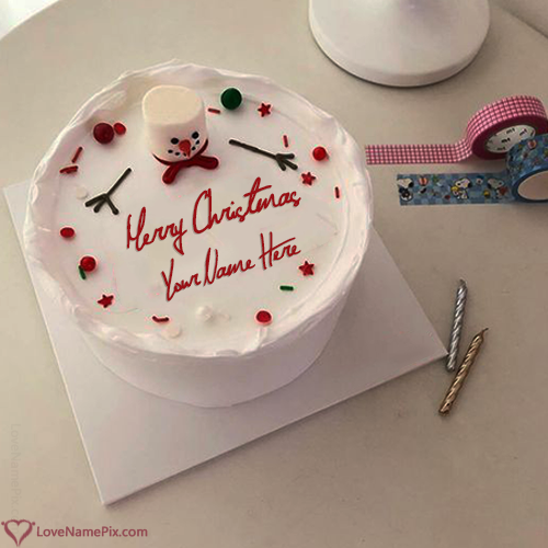 Write Name on Most Liked Happy Christmas Cake Picture