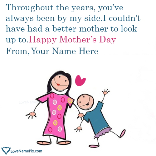 Write Name on Mother Day Wishes From Son Picture
