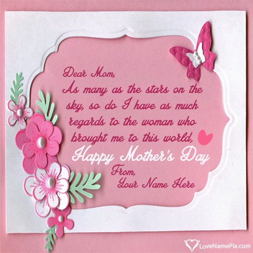 Write Name on Mothers Day Beautiful Greeting Card Picture