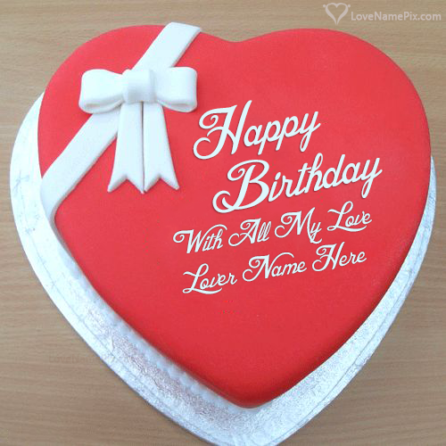 Write Name on Online Lover Birthday Cake Generator Picture