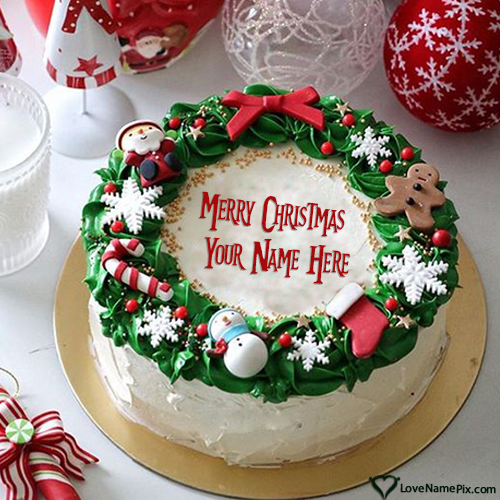 Online Merry Christmas Cake Writing With Name