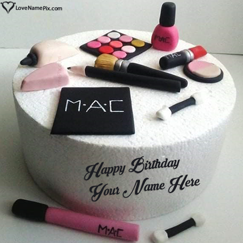 Personalized Makeup Birthday Cake For Girl With Name