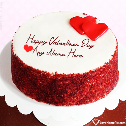 Write Name on Photo Editing For Happy Valentine Day Cake Picture