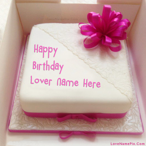 Write Name on Pink Decorated Birthday Cake for Lover Picture