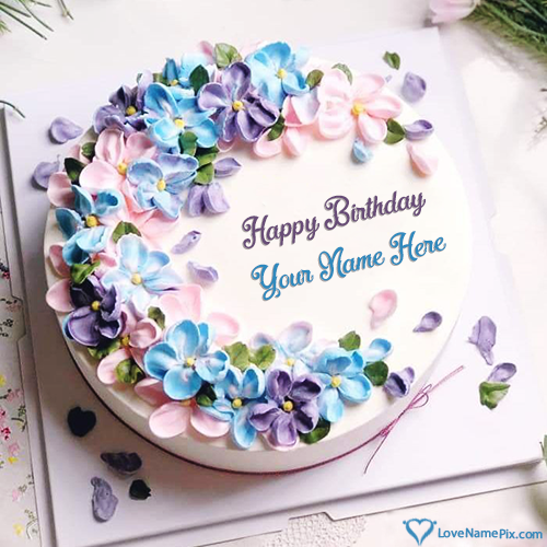 Write Name on Pink Purple Flowers Birthday Cake Generator Picture