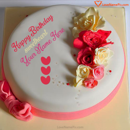 Write Name on Plain Roses Birthday Cake For Lover Picture