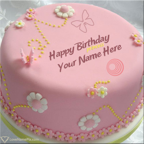 Write Name on Pretty Princess Birthday Cake For Girls Picture