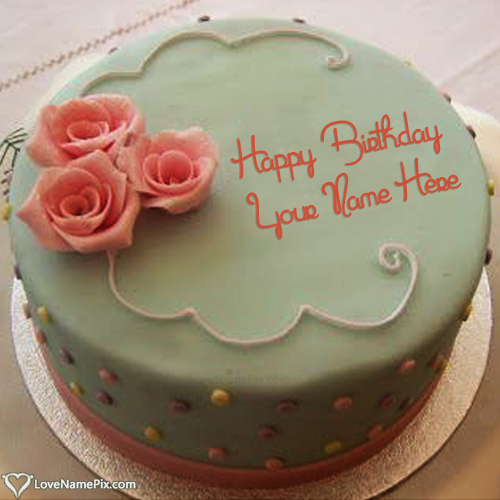 Write Name on Pretty Roses Birthday Cake Maker Picture