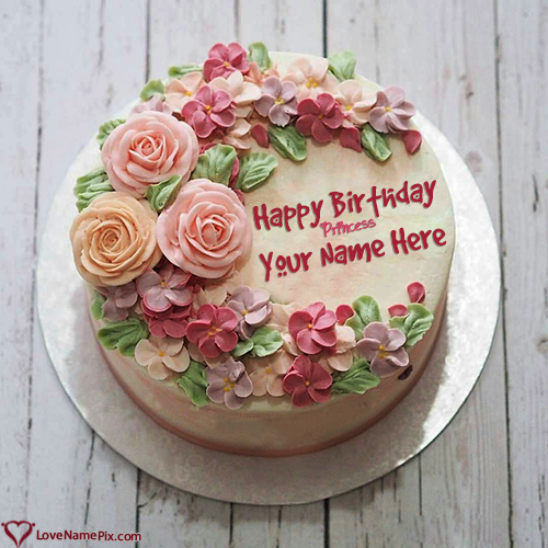 Write Name on Princess Birthday Cake Generator For Girl Picture