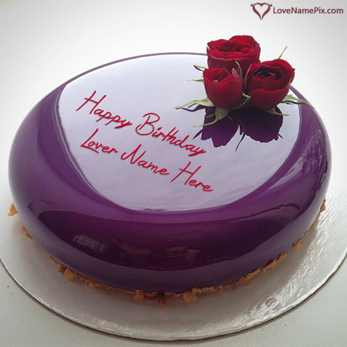 Purple Marble Birthday Cake For Lover With Name