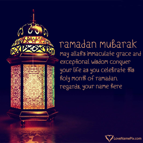 Write Name on Ramadan Mubarak Greeting Cards Picture