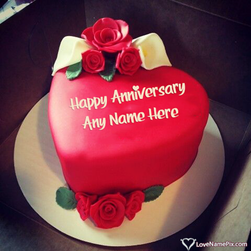 Write Name on Red Heart Romantic Anniversary Cake Picture