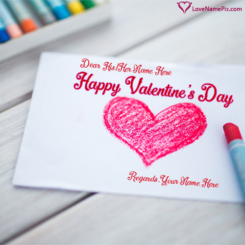 Write Name on Red Heart Valentines Day Greetings Picture