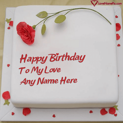 Write Name on Red Rose Love Birthday Cake Generator Picture