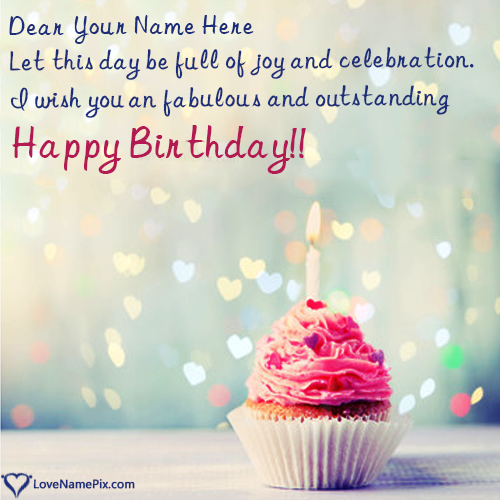 Write Name on Red Velvet Cupcake Birthday Wishes Picture