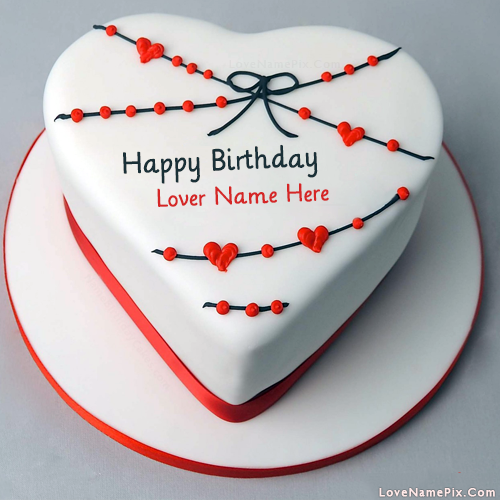 Red White Heart Birthday Cake With Name
