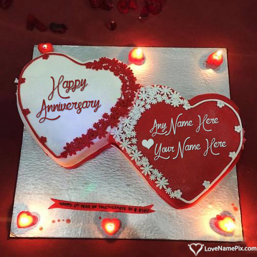 Write Name on Romantic Anniversary Cake Images Picture