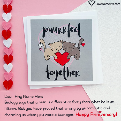 Write Name on Romantic Anniversary Cards For Husband Picture