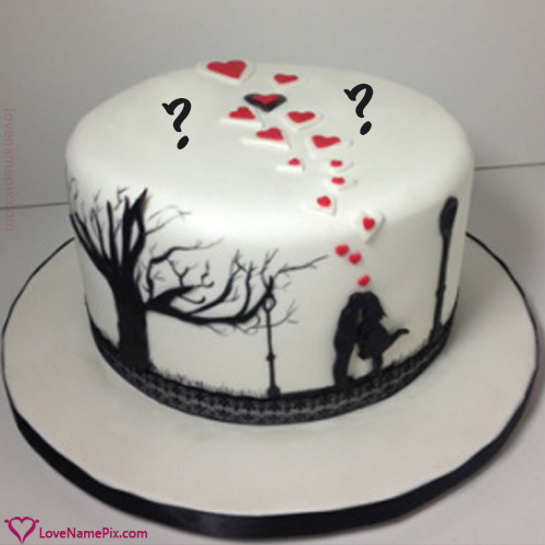 Romantic Couple Alphbets lovers Cake With Name