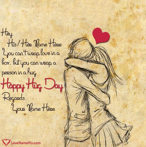 Romantic Couple Happy Hug Day With Name
