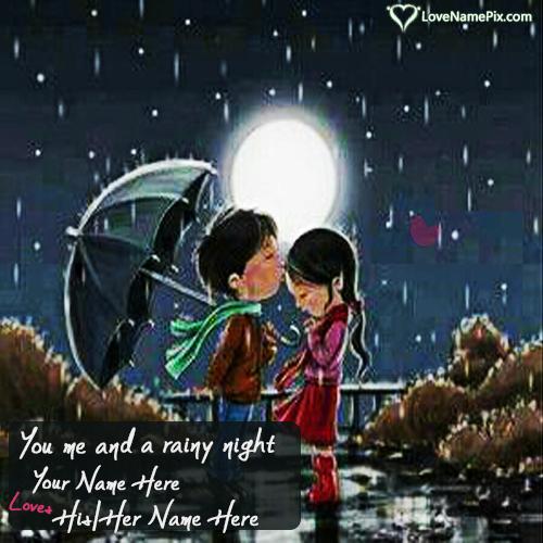 Write Name on Romantic Couple In Rain Picture