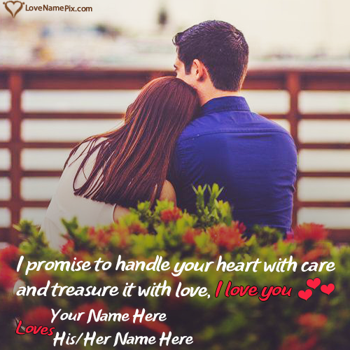 Romantic Couple Pic Edit In Red Roses With Name