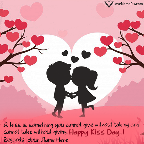 Write Name on Romantic Happy Kiss Day Images Picture
