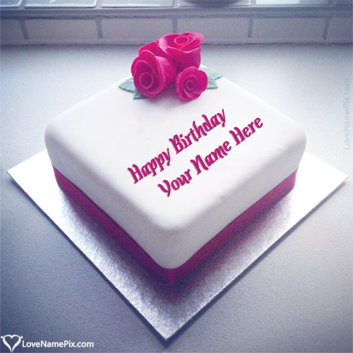 Write Name on Romantic Roses Birthday Cake For Husband Picture