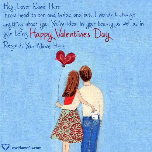 Write Name on Romantic Valentine Day Wishes For Lover Picture