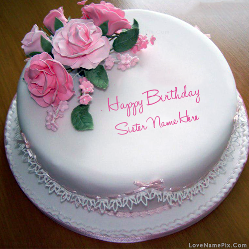 Stupendous Rose Birthday Cake For Sister With Name Personalised Birthday Cards Petedlily Jamesorg