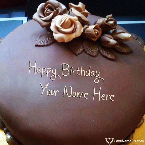 Write Name on Roses Chocolate Happy Birthday Cake Picture