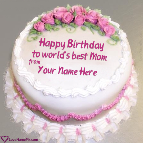 Astounding Roses Decorated Birthday Cake For Mom With Name Personalised Birthday Cards Arneslily Jamesorg