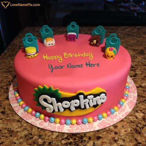 Write Name on Shopkins Kids Birthday Cake Designs Picture