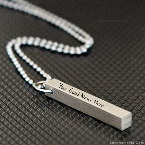 Silver Bar Pendant Necklace With Name