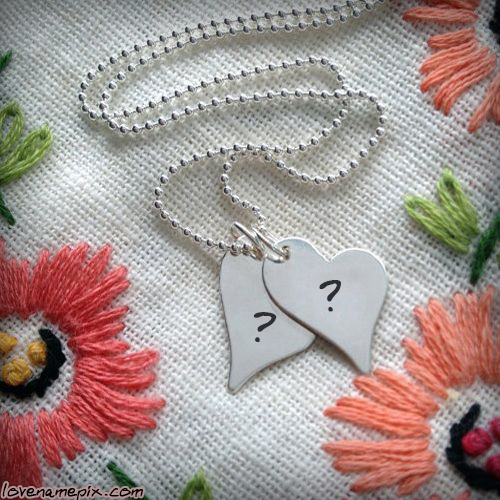 Write Name on Silver Heart Pendant Picture