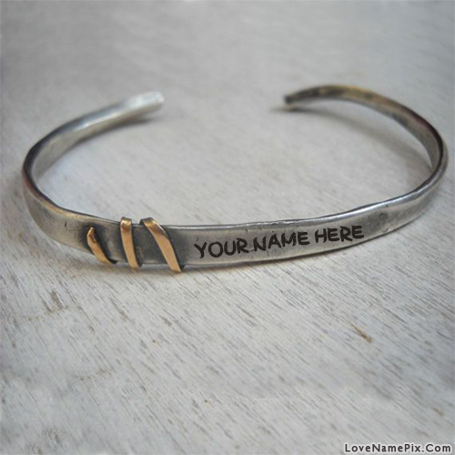 Write Name on Silver Mens Cuff Bracelet Picture